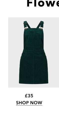 Green Cord Pinafore Dress