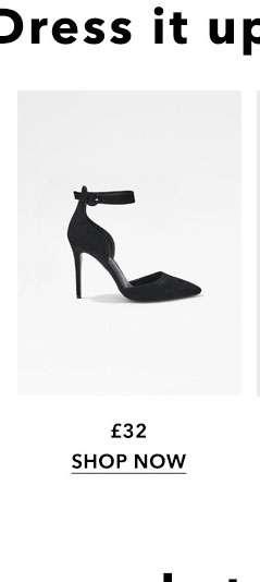 Black CLIO Ankle Strap Court Shoes