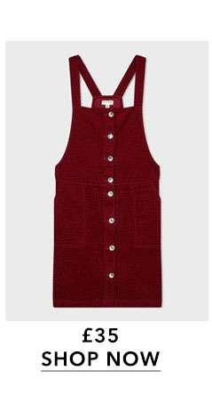 Burgundy Button Cord Pinafore Dress