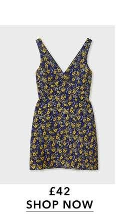 Floral Print Jacquard Mini Skater Dress