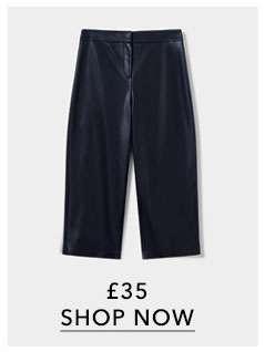 PU Cropped Wide Leg Trousers