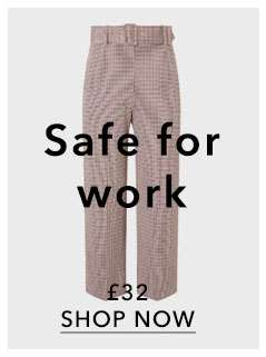 Check Belted Cropped Wide Leg Trousers