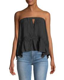 Ramy Brook Leah Strapless Crochet-Trim Blouse