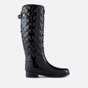 Hunter Women's Refined Gloss Quilt Tall Wellies - Black