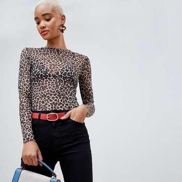 Stradivarius leopard mesh long sleeve top