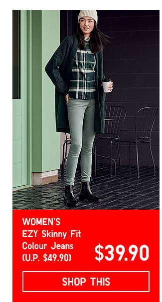 Limited Offer! Women's EZY Skinny Fit Colour Jeans at $39.90