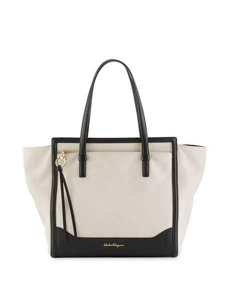 Amy Medium Canvas Tote Bag, Naturale/Nero