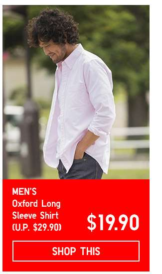 Limited Offer! Men's Oxford Slim Fit Long Sleeve Shirt at $19.90
