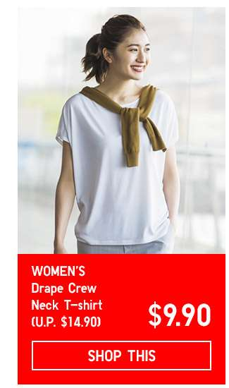Limited Offer! Women's Drape Crew Neck Short Sleeve T-shirt at $9.90
