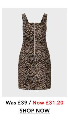PETITE Animal Print Pinafore Dress
