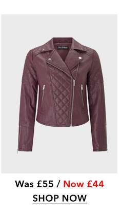 Burgundy Quilted Leather Look Biker