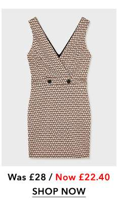 Rust Tile V-Neck Pinafore Dress