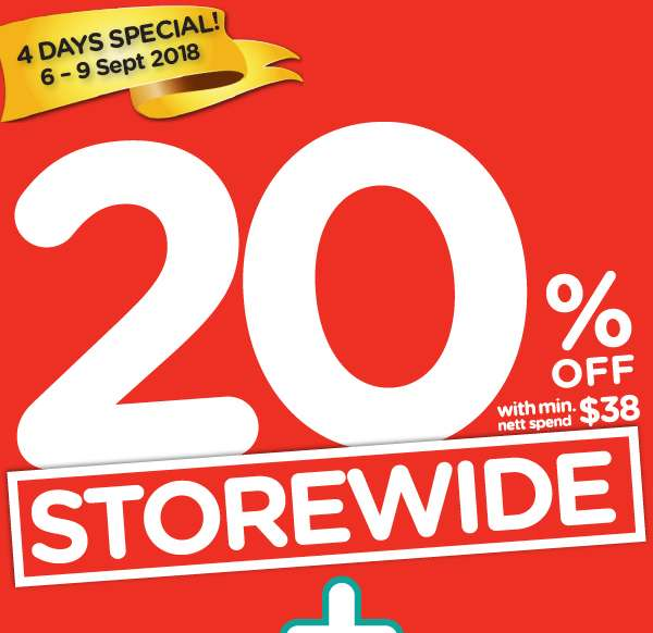 Storewide 20% Sale with min. $38 spend