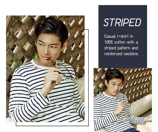 Men's Striped Crew Neck Long Sleeve T-shirt