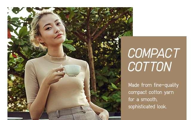 Women's Compact Cotton High Neck Half Sleeve T-shirt