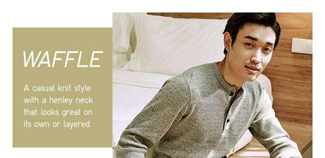 Men's Waffle Henley Neck Long Sleeve T-shirt