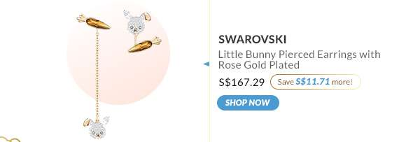 Shop Now: Swarovski Little Bunny Pierced Earrings with Rose Gold Plated