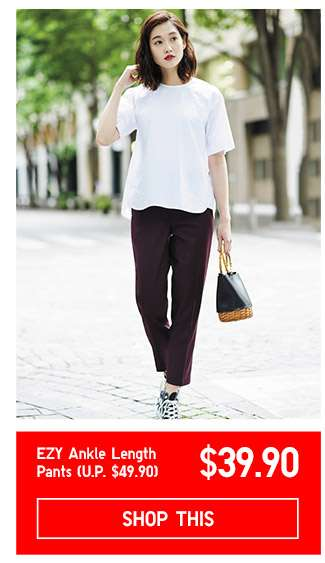 Limited offer! Shop Women's EZY Ankle Length Pants at $39.90