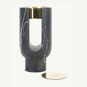 Lyra Marquina marble candle holder