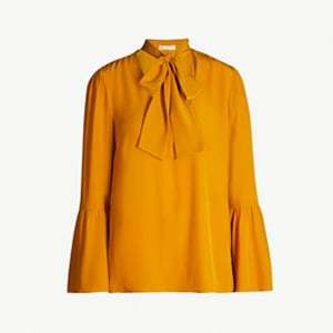 Flared tie-collar silk-crepe top