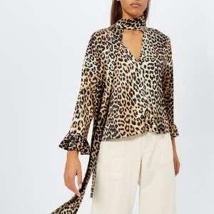 Ganni Women's Calla Silk Top - Leopard