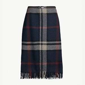 Ezor checked tassel-trim wool skirt