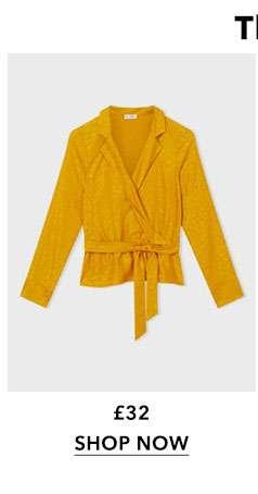 Ochre Animal Jacquard Pyjama Style Wrap Blouse