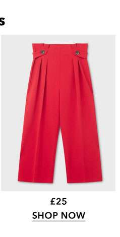 Red Button Side Wide Leg Trousers