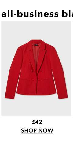 Red Tailored Button Blazer