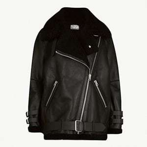Velocite shearling and leather aviator jacket