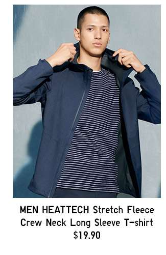 Shop Men's HEATTECH Stretch Fleece Crew Neck Long Sleeve T-shrit at $19.90