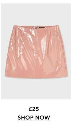 Blush Vinyl Mini Skirt