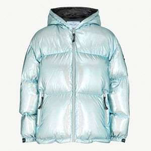 Hooded quilted metallic shell-down jacket
