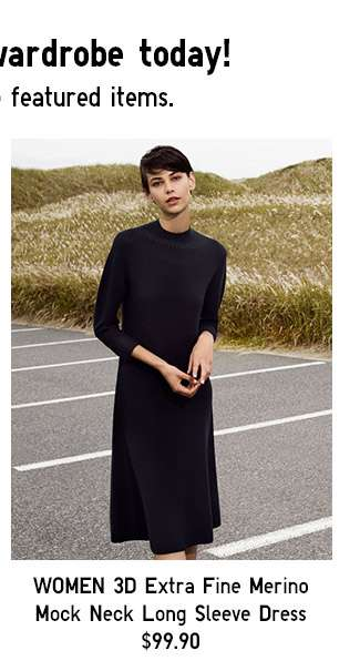 Shop Women's 3D Extra Fine Merino Mock Neck Long Sleeve Dress at $99.90