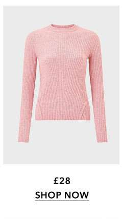 Pink Soft Touch Crew Neck Ribbed Jumper