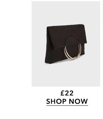 Black Metal Circle Fold Over Clutch Bag