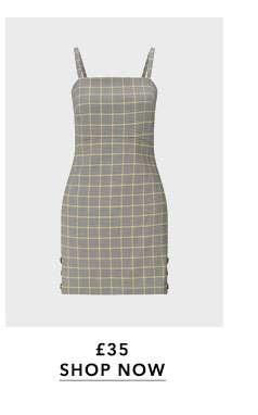 PETITE Yellow Grey Check Pinafore Dress