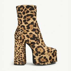 Billy leopard-print calf-hair platform ankle boots