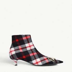 BB tartan flannel-wool ankle boots