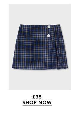 Navy Checked Kilt Skirt
