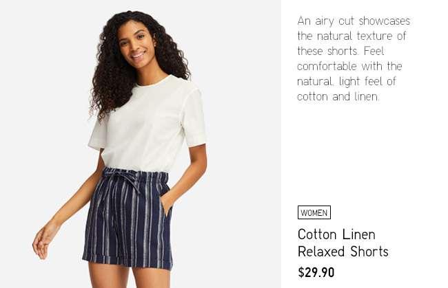 Women's Striped Linen Relaxed Shorts