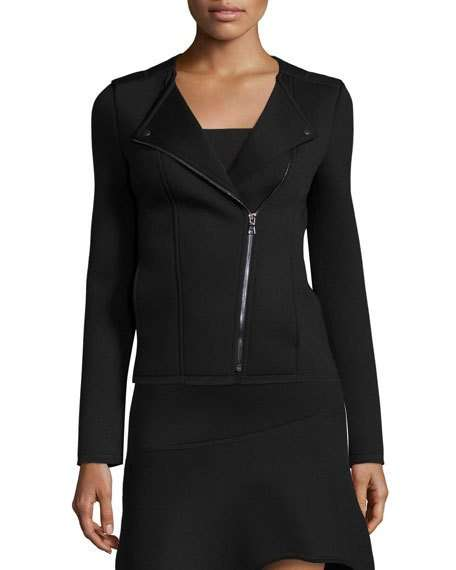 Moto Jacket with Asymmetric Zip Front