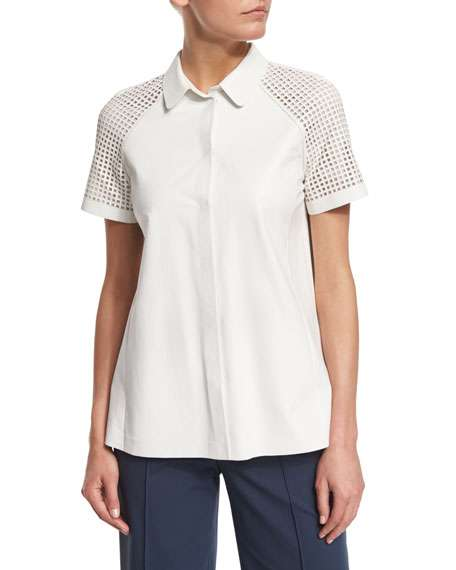 Ingrid Lamb Leather Blouse with Perforated Sleeves, White