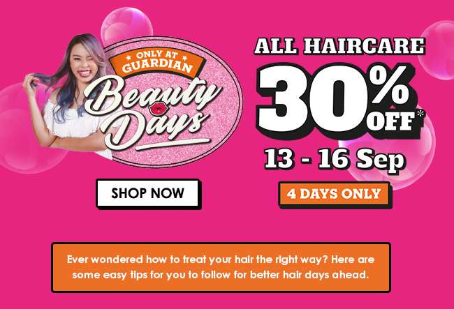 Click here for 30% off all Haircare from 13-16 Sep