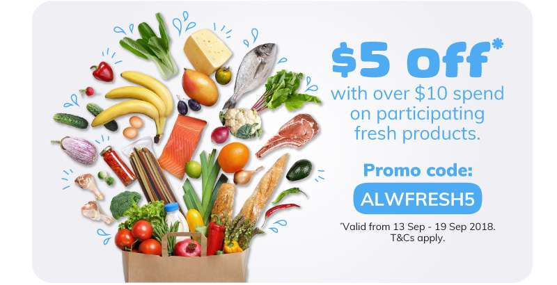 $5 off* with over $10 spend on participating fresh products.