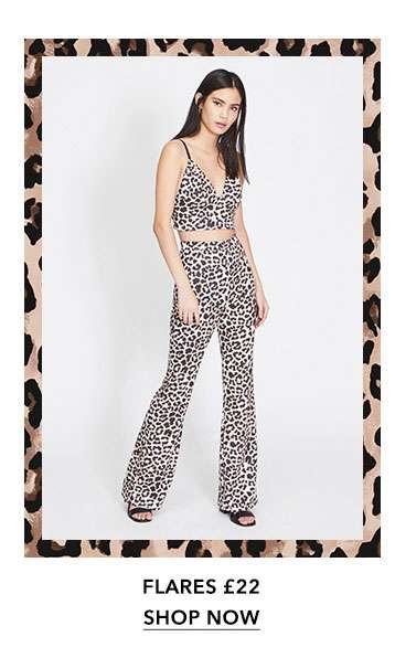 Leopard Print Kick Flare Trousers
