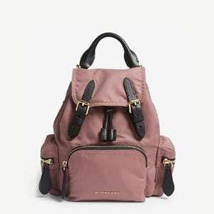 Shell and leather backpack