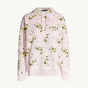 Floral-print cotton-jersey hoody