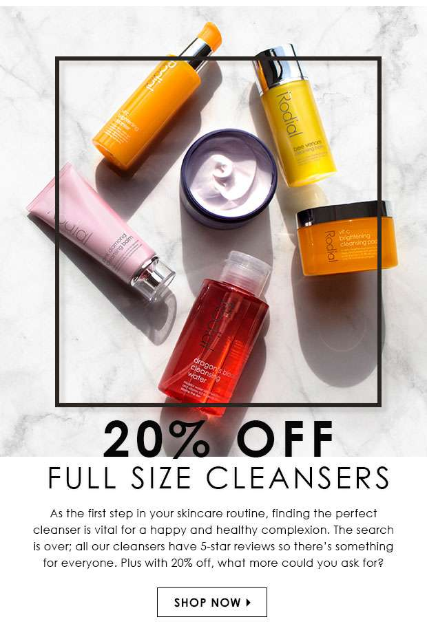 20% Off Full Size Cleansers