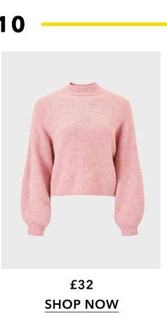 Pink Soft Touch Funnel Neck Ribbed Jumper
